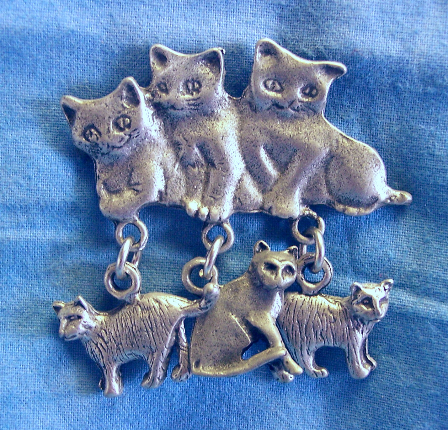 Great 03215x 3 Kittens With Dangles Clutch Back Pin 1 1/8u2033 X 1 1/4u2033 Solid Lead  Free Pewter $25.00